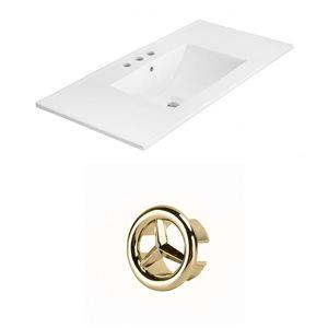 American Imaginations Xena 35.5-in White Ceramic Wide Spread  Vanity Top Set Gold Overflow Cap