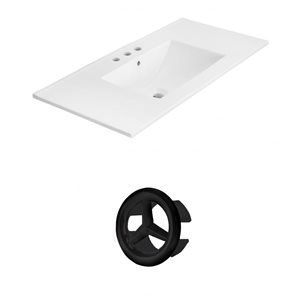 American Imaginations Xena 35.5-in White Ceramic Wide Spread  Vanity Top Set Black Overflow Cap