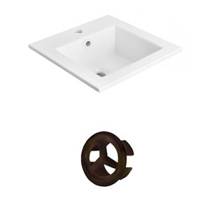 American Imaginations 21-in White Ceramic Top Set With Oil Rubbed Bronze Overflow Cap