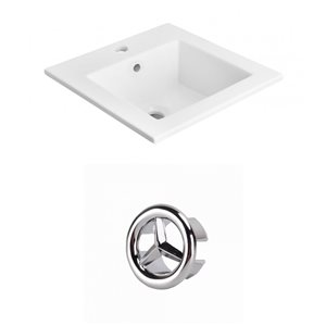 American Imaginations 21-in White Ceramic Top Set With Chrome Overflow Cap