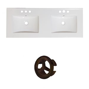 American Imaginations 48-in White Double Sink Widespread Ceramic Top Set With Oil Rubbed Bronze Overflow Cap