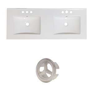 American Imaginations 48-in White Double Sink Widespread Ceramic Top Set With Brushed Nickel Overflow Cap