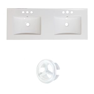 American Imaginations 48-in White Double Sink Widespread Ceramic Top Set With White Overflow Cap