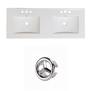 American Imaginations 48-in White Double Sink Widespread Ceramic Top Set With Chrome Overflow Cap