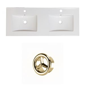 American Imaginations 48-in White Double Sink Widespread Ceramic Top Set With Gold Overflow Cap