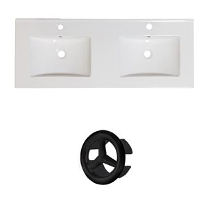 American Imaginations 48-in White Double Sink Widespread Ceramic Top Set With Black Overflow Cap