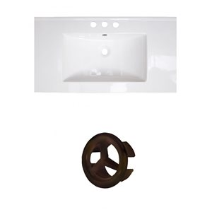 Amercan Imaginations Flair 32-in White ceramic Top Set With Oil rubbed Bronze Overflow Cap