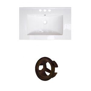 American Imaginations 23.75-in White Ceramic Centerset Vanity Top Set Oil Rubbed Bronze Overflow Cap