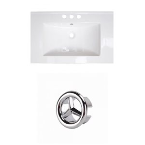 American Imaginations 23.75-in White Ceramic Centerset Vanity Top Set Chrome Overflow Cap
