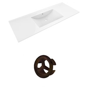 American Imaginations 48-in White Widespread Ceramic Top Set With Oil Rubbed Bronze Overflow Cap