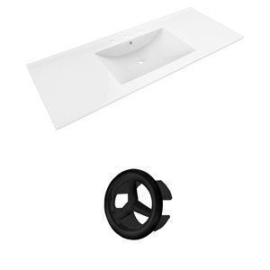 American Imaginations Alum 48-in White Ceramic Widespread Vanity Top Set Black Overflow Cap