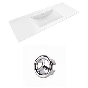 American Imaginations Alum 48-in White Ceramic 4-in Centerset Vanity Top Set Chrome Overflow Cap