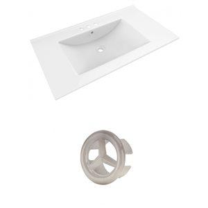 American Imaginations Drake 35.5-in White Ceramic Centerset  Vanity Top Set Brushed Nickel Overflow Cap