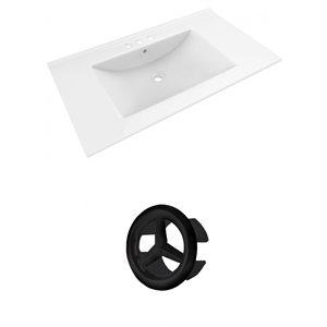 American Imaginations Drake 35.5-in White Ceramic Centerset  Vanity Top Set Black Overflow Cap