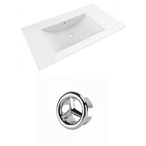 American Imaginations Drake 35.5-in White Ceramic Centerset  Vanity Top Set Chrome Overflow Cap