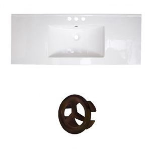 American Imaginations Roxy 48-in White Ceramic 4-in Centerset Vanity Top Set Oil Rubbed Bronze Overflow Cap