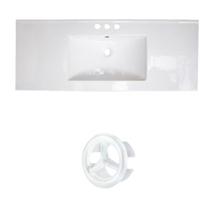 American Imaginations Roxy 48-in White Ceramic 4-in Centerset Vanity Top Set White Overflow Cap