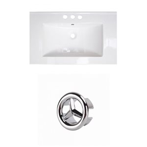 Amercan Imaginations Roxy 32-in White ceramic Top Set With Chrome Overflow Cap