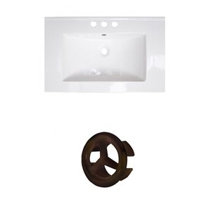 American Imaginations 24.25-in White Ceramic Single Sink with Oil Rubbed Bronze Overflow Cap