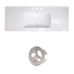 American Imaginations Roxy 48-in White Ceramic 4-in Widespread Vanity Top Set Brushed Nickel Overflow Cap