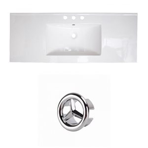 American Imaginations Roxy 48-in White Ceramic 4-in Widespread Vanity Top Set Chrome Overflow Cap