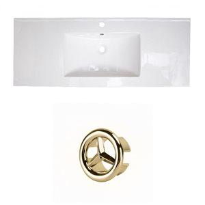 American Imaginations Roxy 48-in White Ceramic Single Hole Vanity Top Set Gold Overflow Cap