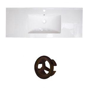 American Imaginations Roxy 48-in White Ceramic Single Hole Vanity Top Set Oil Rubbed Bronze Overflow Cap