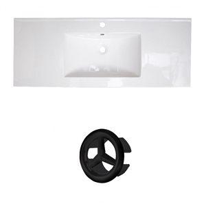 American Imaginations Roxy 48-in White Ceramic Single Hole Vanity Top Set Black Overflow Cap