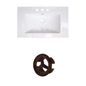 Amercan Imaginations Roxy 32-in White ceramic Top Set With Oil Rubbed Bronze Overflow Cap