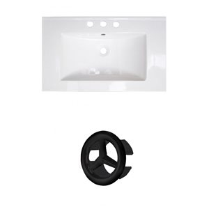 Amercan Imaginations Roxy 32-in White ceramic Top Set With Black Overflow Cap