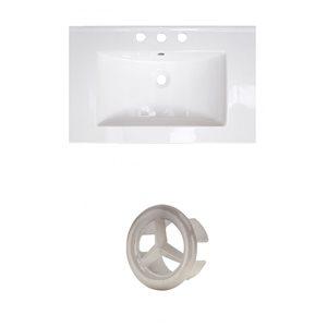 American Imaginations Roxy 24.25-in White Ceramic Vanity Top Set with Brushed Nickel Overflow Cap