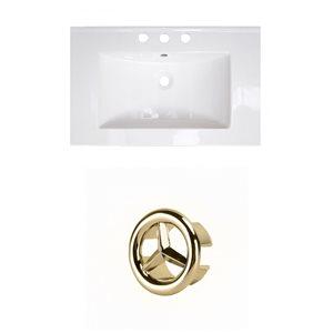 American Imaginations 23.75-in White Ceramic Centerset Vanity Top Set Gold Overflow Cap
