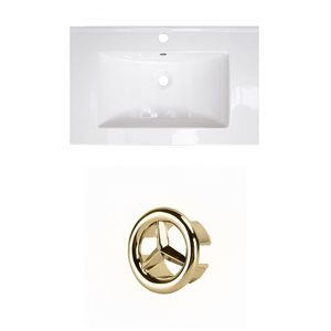 American Imaginations 23.75-in White Ceramic Single Hole Vanity Top Set Gold Overflow Cap