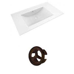 American Imaginations Drake 35.5-in White Ceramic Widespread Vanity Top Set Oil Rubbed Bronze Overflow Cap