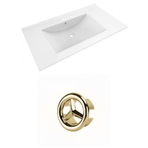 American Imaginations Drake 35.5-in White Ceramic Widespread Vanity Top Set Gold Overflow Cap