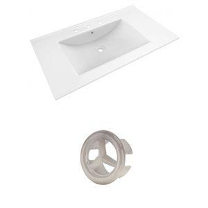 American Imaginations Drake 35.5-in White Ceramic Widespread Vanity Top Set Brushed Nickel Overflow Cap