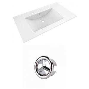 American Imaginations Drake 35.5-in White Ceramic Widespread Vanity Top Set Chrome Overflow Cap