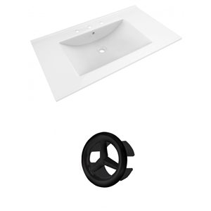 American Imaginations Drake 35.5-in White Ceramic Widespread Vanity Top Set Black Overflow Cap