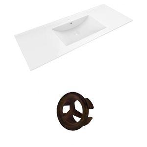 American Imaginations Alum 48-in White Ceramic Single Hole Vanity Top Set Oil Rubbed Bronze Overflow Cap