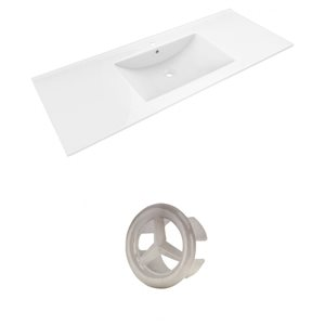 American Imaginations Alum 48-in White Ceramic Single Hole Vanity Top Set Brushed Nickel Overflow Cap