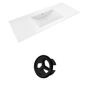American Imaginations Alum 48-in White Ceramic Single Hole Vanity Top Set Black Overflow Cap