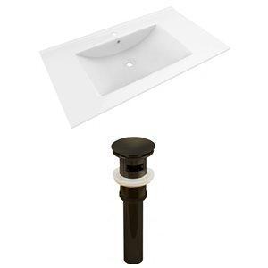 American Imaginations Drake 35.5-in White Ceramic Single Hole Vanity Top Set Oil Rubbed Bronze Sink Drain