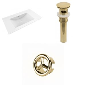American Imaginations Drake 35.5-in White Ceramic Single Hole Vanity Top Set Gold Sink Drain and Overflow Cap