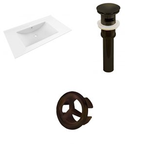 American Imaginations Drake 35.5-in White Ceramic Single Hole Vanity Top Oil Rubbed Bronze Drain and Overflow Cap