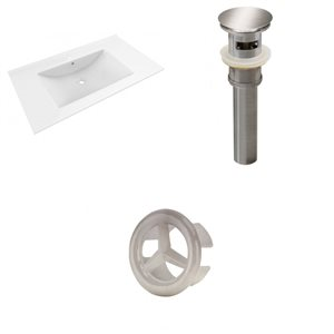 American Imaginations Drake 35.5-in White Ceramic Single Hole Vanity Top Set Brushed Nickel Sink Drain and Overflow Cap