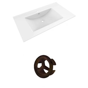 American Imaginations Drake 35.5-in White Ceramic Single Hole Vanity Top Set Oil Rubbed Bronze Overflow Cap