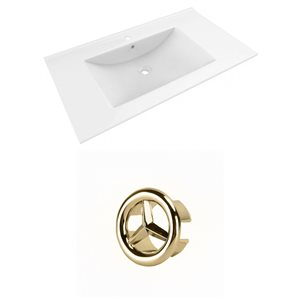 American Imaginations Drake 35.5-in White Ceramic Single Hole Vanity Top Set Gold Overflow Cap