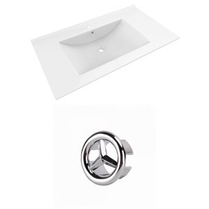 American Imaginations Drake 35.5-in White Ceramic Single Hole Vanity Top Set Chrome Overflow Cap
