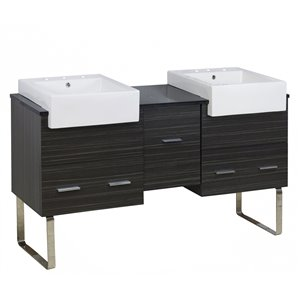 American Imaginations Xena Farmhouse 59.50-in Double Sink Grey Bathroom Vanity with Glass Top