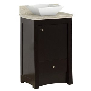 Elite 19.75-in Floor Mount Distressed Antique Walnut Vanity Set